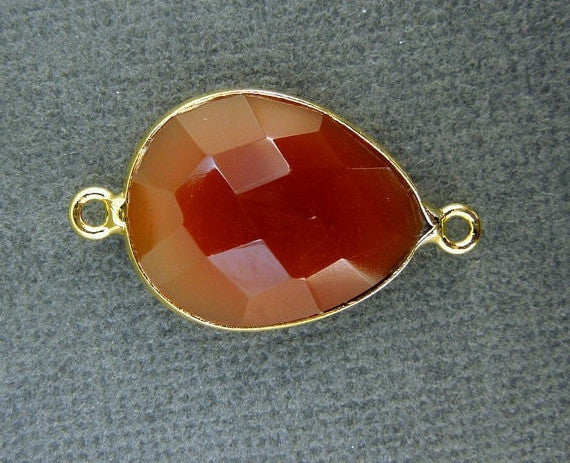 Bezel Connector Carnelian Station Teardrop Gemstone Connector - 15mm x 20mm Gold Layered Bezel Link - Double Bail Charm Pendant (GO-05)
