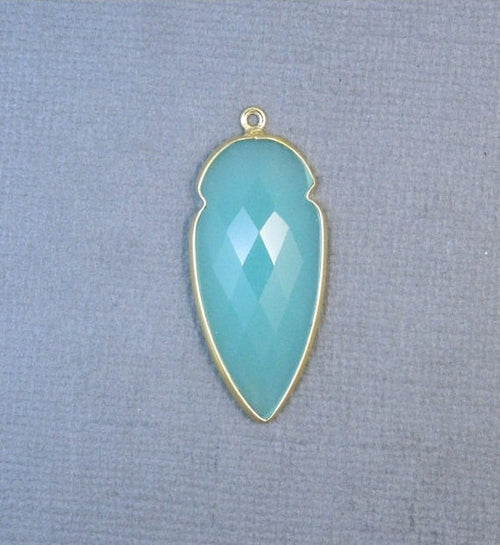 Aqua Blue Chalcedony Arrowhead Pendant- 34mm x 17mm Gold over Sterling Silver Bezel Charm Pendant