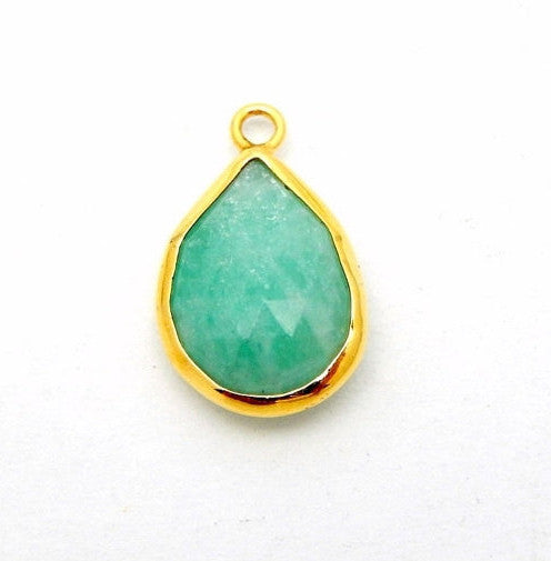 Amazonite Bezel Teardrop Charm Pendant -- 11mm x 14mm Amazonite in a Gold Over Sterling Bezel