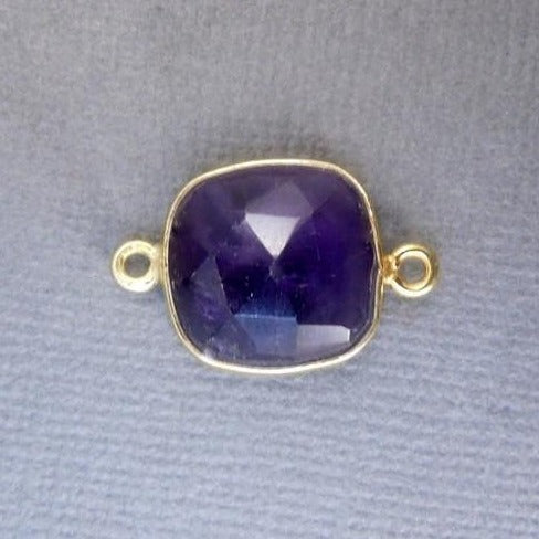 Amethyst Station Square Pendant - 14mm Gold Over Sterling Bezel Link Double Bail Charm Pendant