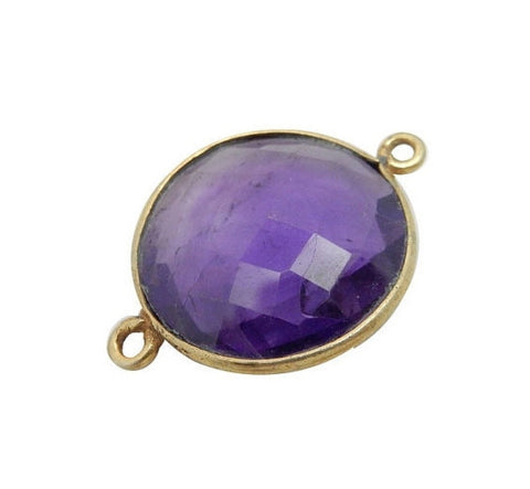 Amethyst Station Square Connector - 15mm Silver layered Bezel Link - Double Bail Charm Pendant
