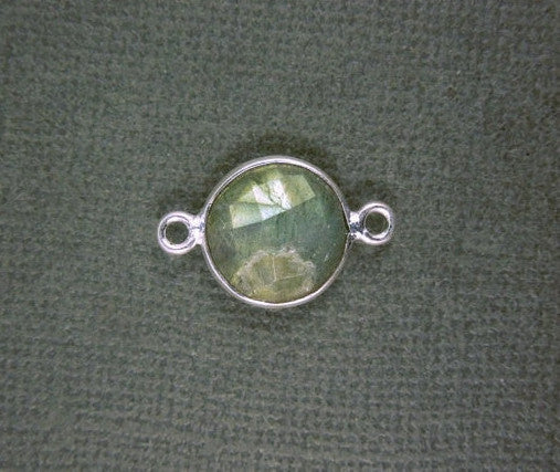 Bezel Connector- Labradorite Station Round Connector - 12mm Silver Bezel Link - Double Bail Charm Pendant