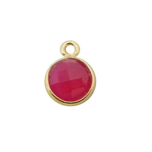 6mm Bezel Tiny Hot Pink Chalcedony Round Pendant - 6mm Gold over Sterling Bezel Charm Pendant