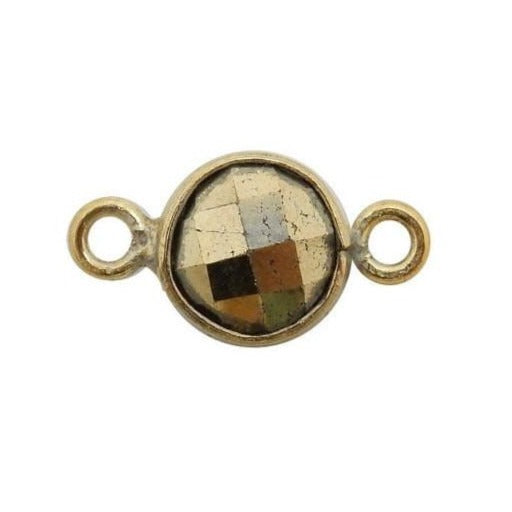 Pyrite Station Round Pendant Connector  - 6mm Gold Over Sterling Silver Bezel Charm Double Bail Pendant (S52B18-01)