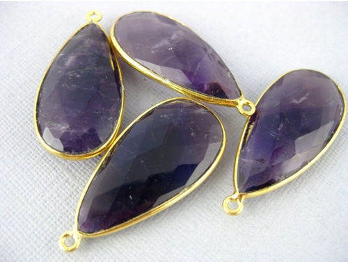 Amethyst Teardrop Pendant- 30mm x 15mm Gold Over Sterling Bezel - Single Bail Charm Pendant