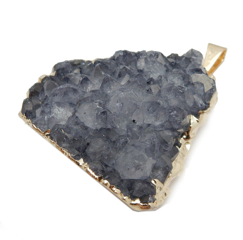 Large Freeform Grey/Purple Druzy Pendant with Electroplated 24k Gold Edge - (S100B17-02)