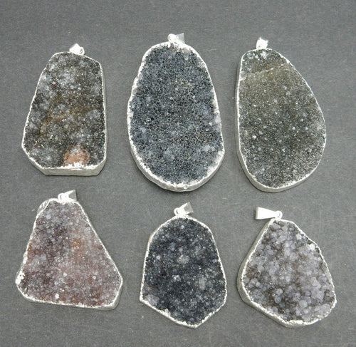 Large Druzy Pendant  Freeform Dark Druzy Pendant with Electroplated Silver Edge DDZ - (S100B17-05)