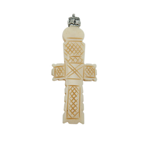 15% off Christmas in July Tibetan Cross Pendant-- Carved Bone Cross Pendant with Engraved Silver Toned Brass Cap