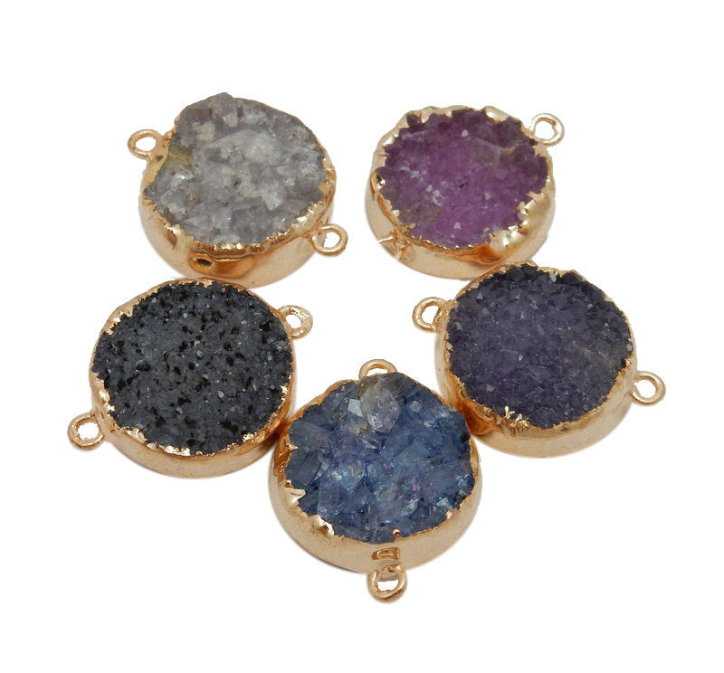 Round Pink Druzy Cluster Double Bail Pendant with 24k Gold Electroplated Edges (S39B13-03)