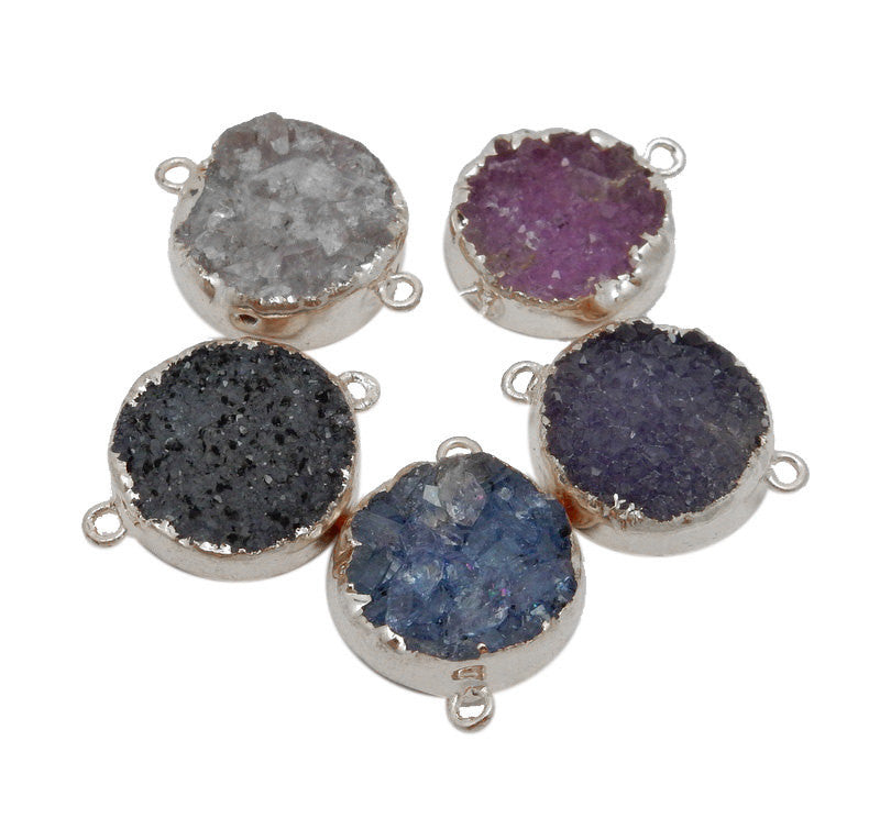 Round Pink Druzy Cluster Double Bail Pendant with Silver Electroplated Edges (S39B13-06)
