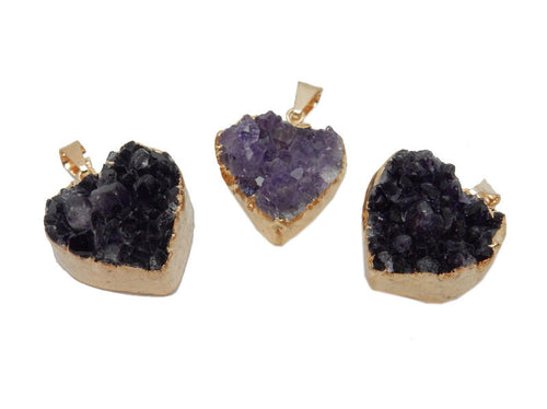 Amethyst Heart Druzy Cluster Heart Pendant with 24k Gold Electroplated Edges (S39B13-13)
