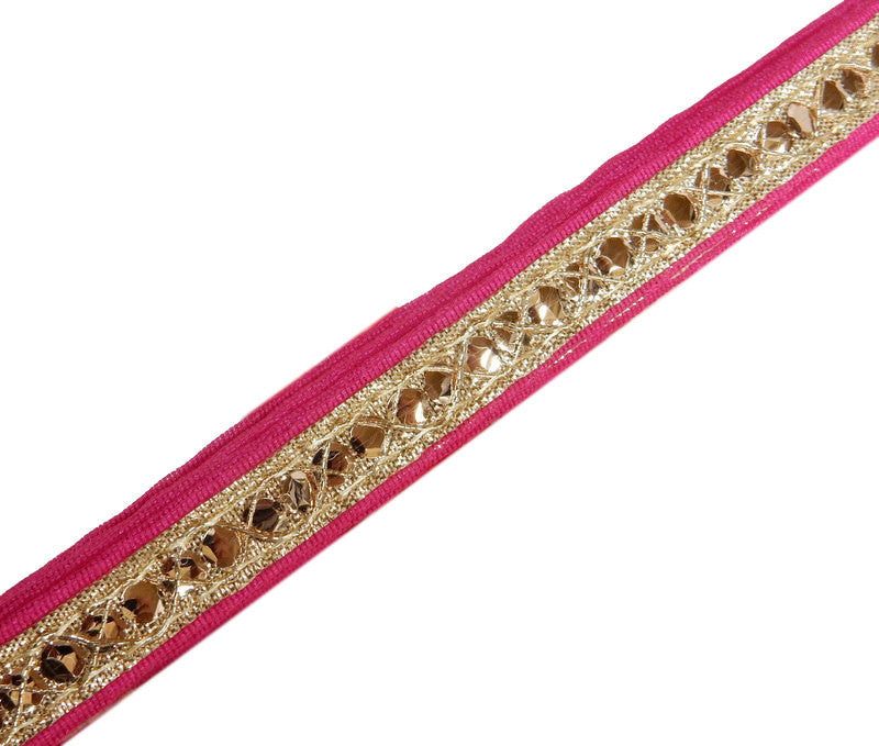Sari Ribbon 30ft -- Gold & Pink Sari Ribbon with Gold Rhinestone and Swirl Accents -- ONE ROLL (S76B32-01)
