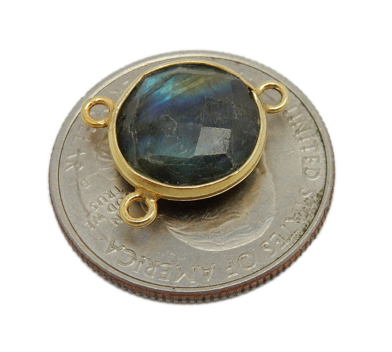 Labradorite Station Round Triple Bail Connector - 10mm Gold Over Sterling Bezel Link - Charm Pendant (WWE-10)