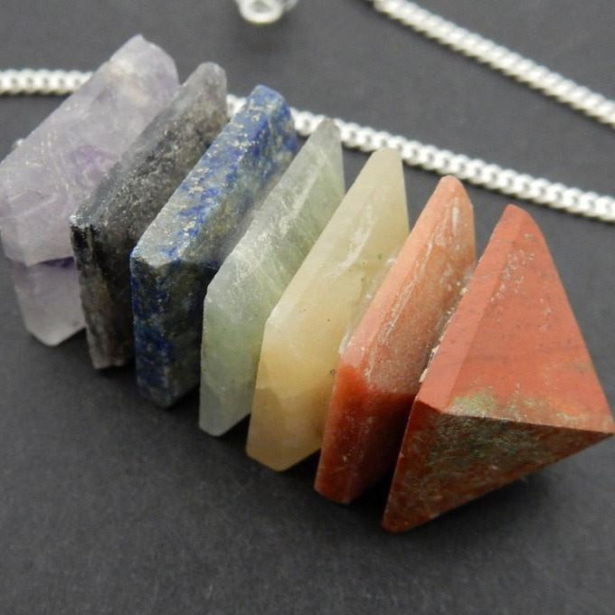 Chakra Pyramid Pendalum with Silver Plated Chain - Crystal Gemstone Accent