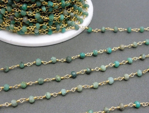 Chrysocolla Wire Wrapped Beaded Chain - Gold Plated Rosary Style Chain (CHN-419)