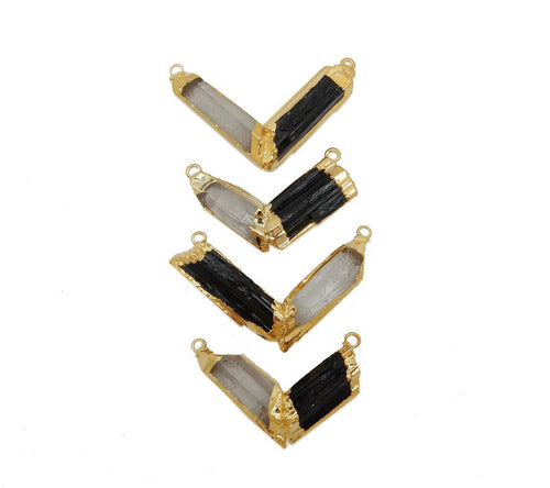 Chevron Pendant - Black Tourmaline and Crystal Quartz Chevron Double Bail Pendant with Electroplated 24k Gold Edge (S17B3-08)