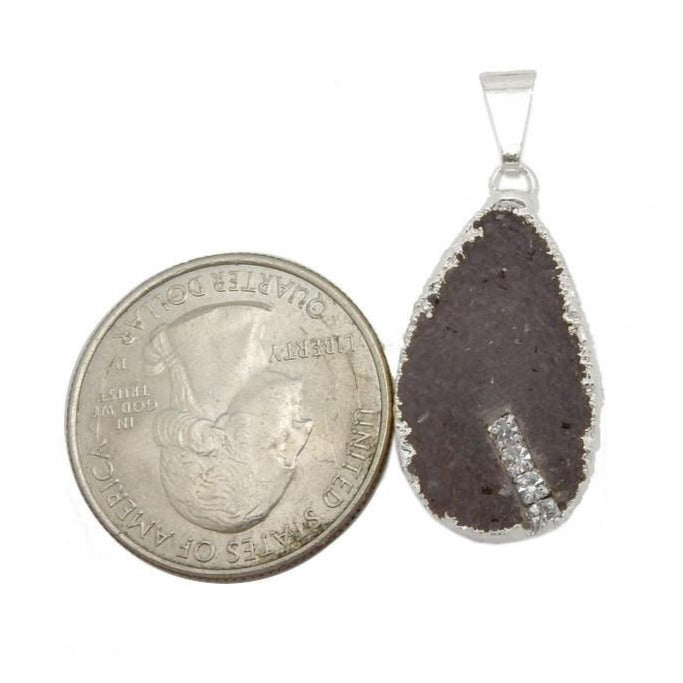 Teardrop Druzy Pendant with Electroplated Silvere Edge and Rhinestone Accents (S17B3-10)