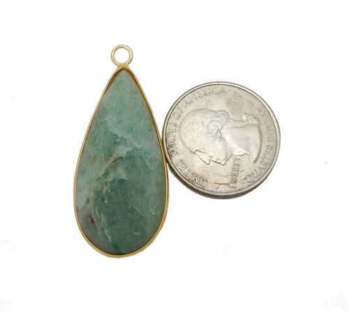 Amazonite Teardrop Pendant - Gold Plated Bezel