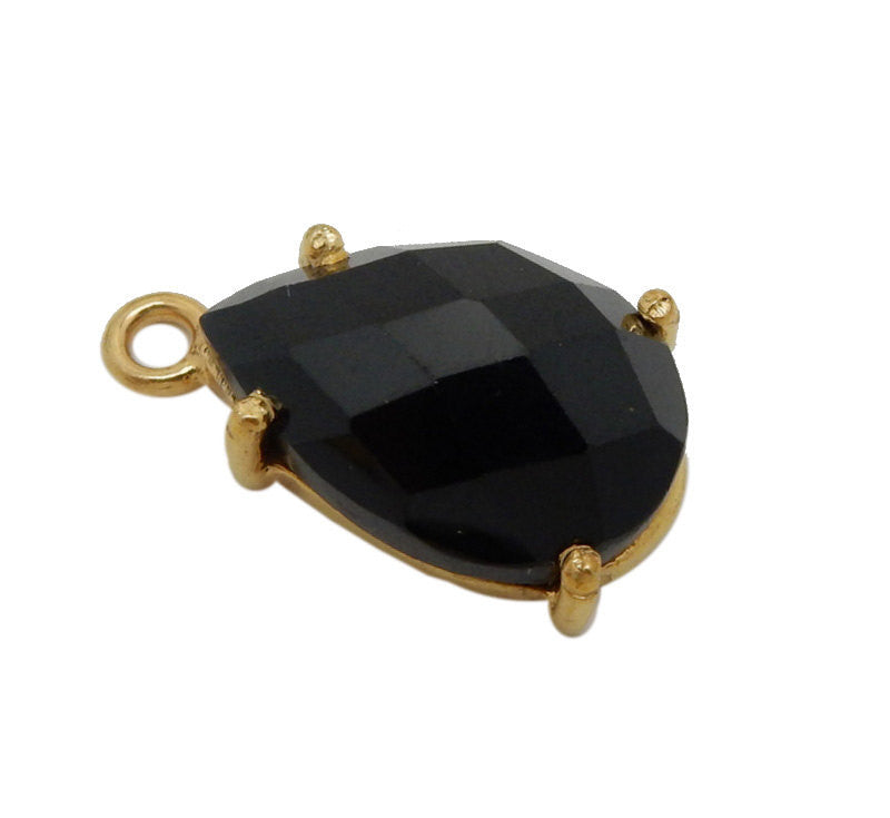 Black Spinal Briolette Teardrop Pendant - Gold Plated over Sterling Bezel