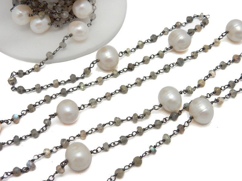 Pearl and Labradorite Rosary Style Beaded Chain - Pearl Beads Wire Wrapped Oxidized Sterling Silver Chain Per Foot - (CHN-293)