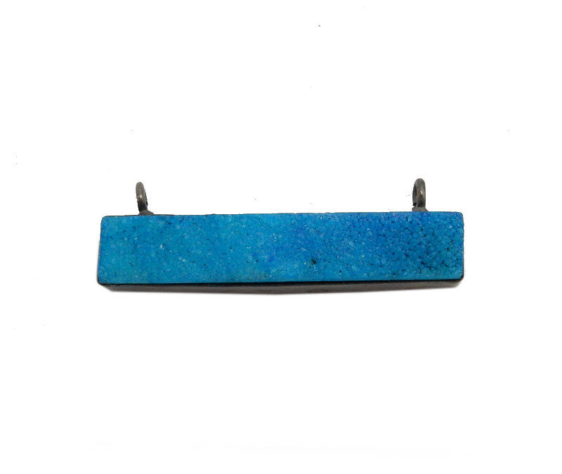 Dyed Turquoise Colored Druzy Double Bail Pendant -- Oxidized Silver Plated Bezel Bar