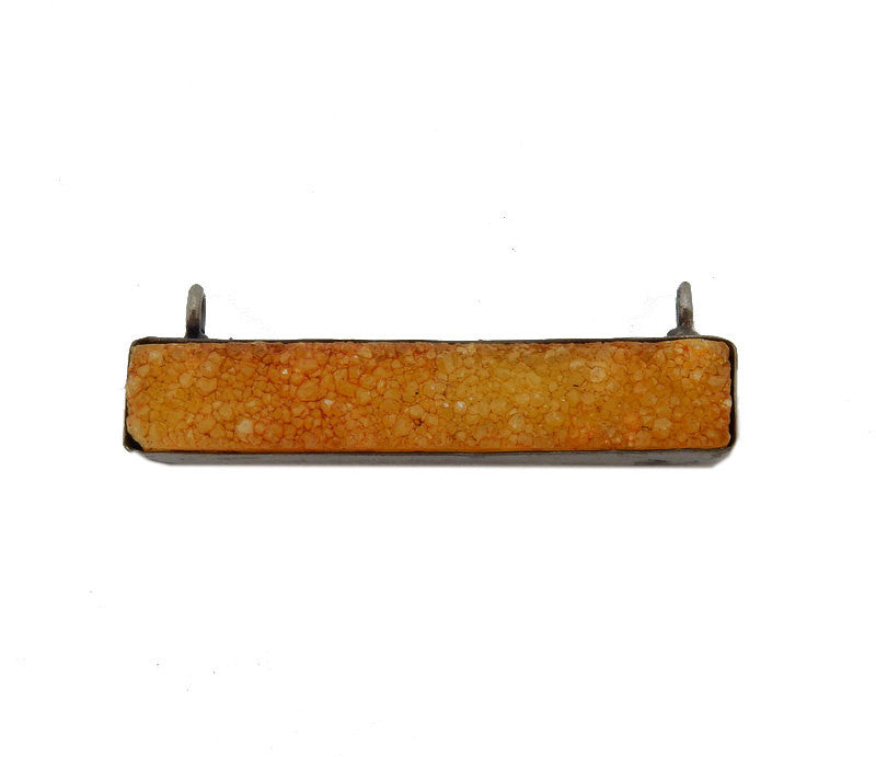 Dyed Yellow Colored Druzy Double Bail Pendant -- Oxidized Silver Plated Bezel Bar