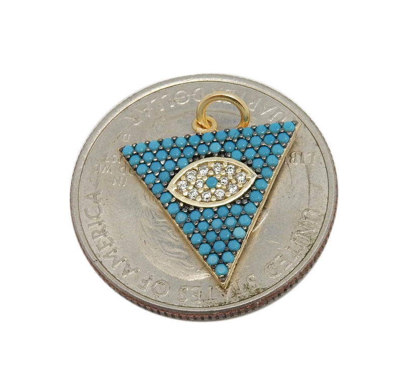 Turquoise Howlite Triangle Pendant with Rhinestone Eye Accent --  Gold Over Sterling Silver Pendant Charm  (LA-171)