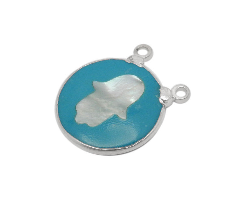 Round Turquoise Howlite Double Bail Pendant with Pearl Hamsa Hand and Electroplated Silver Edge (S35B19-02)