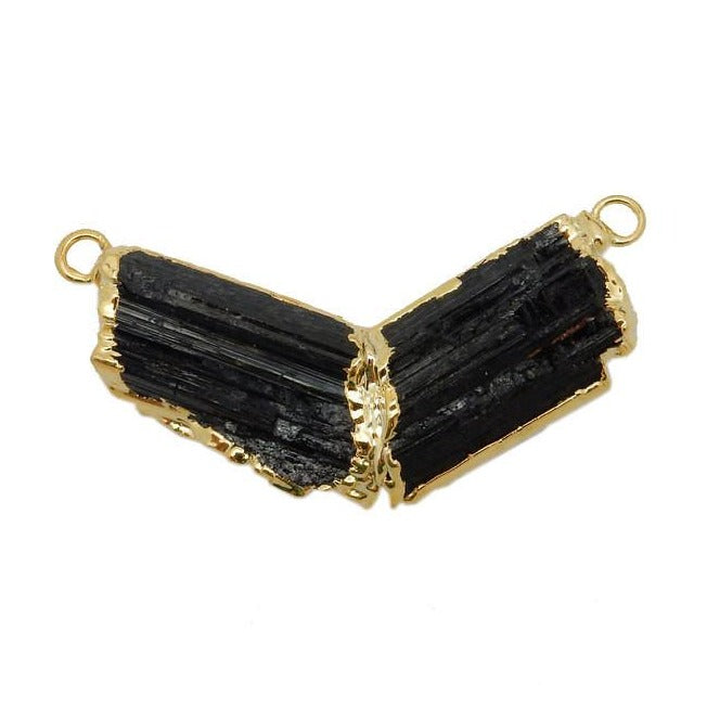 Black Tourmaline Chevron Double Bail Pendant with Electroplated 24k Gold Edge (S35B19-22)