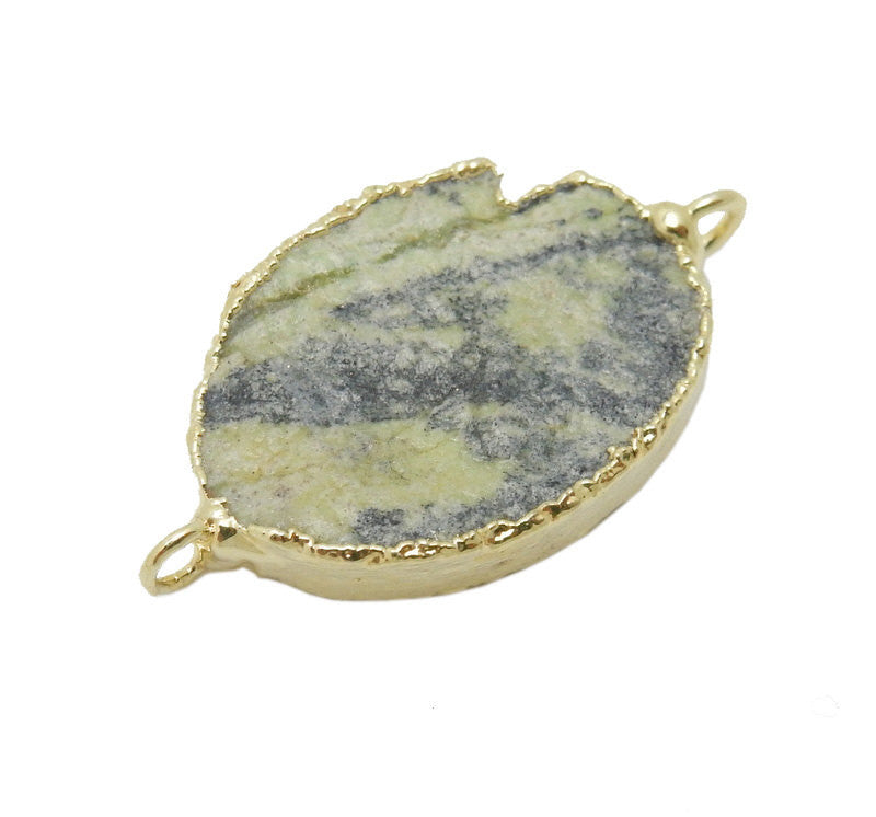 Oval Zebra Jasper Double Bail Pendant with Electroplated 24k Gold Edge (S35B19-17)