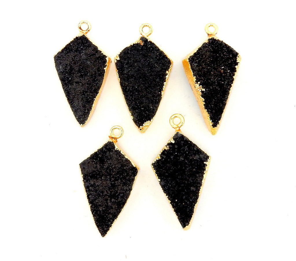 Black Druzy Shield Pendant with 24k Gold Electroplated Edge (S28B20-02)