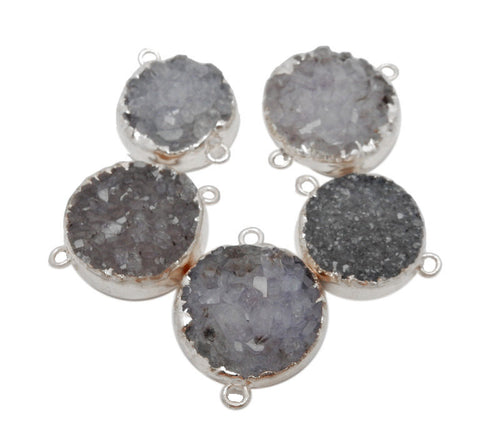 Round Purple/Grey Druzy Cluster Double Bail Pendant with Silver Electroplated Edges (S39B13-09)