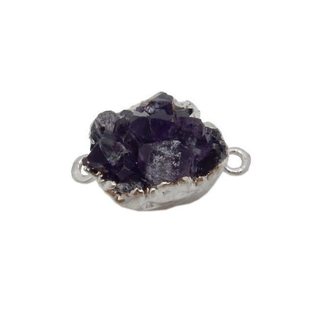 Amethyst Druzy Petite Freeform Cluster Double Bail Pendant with Silver Electroplated Edges (S39B13-11)