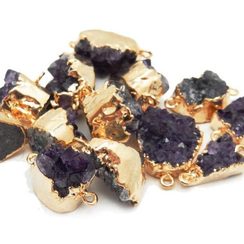 Amethyst Druzy Petite Freeform Cluster Double Bail Pendant with 24k Gold Electroplated Edges (S39B13-12)