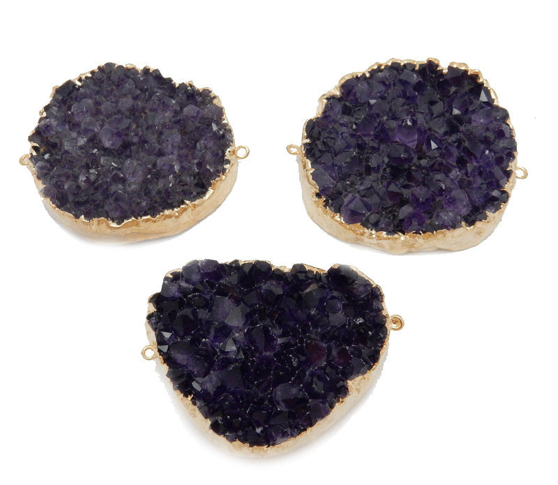 JUMBO Amethyst Druzy Cluster Freeform Double Bail Pendant with 24k Gold Electroplated Edges (S39B13-14)