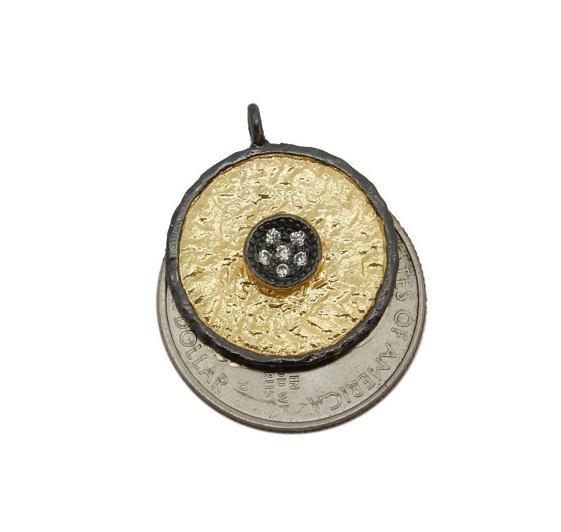 Coin Pendant with Rhinestone Flower Accent - Round Gold Toned Brass with CZ Pave Pendant and Black Plated Edge BIC (S68B18-03)
