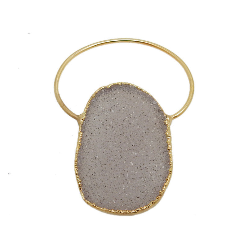 Fancy Freeform Druzy Pendant with Electroplated 24k Gold Edge and Bail