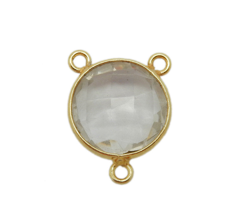 Crystal Quartz Station Round Triple Bail Connector - 10mm Gold Over Sterling Bezel Link - Charm Pendant (WWE-02)