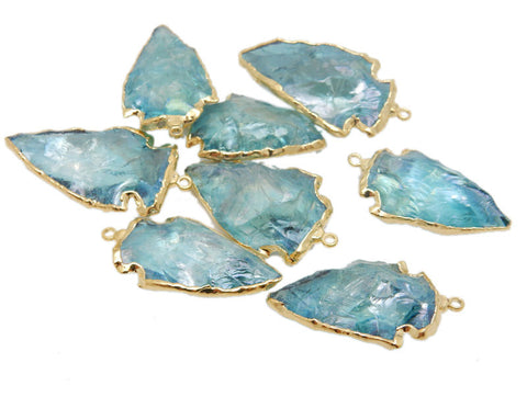 Aqua Aura Arrowhead Pendant with Electroplated 24k Gold Edge (S69B5-08)