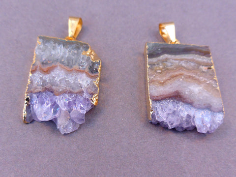 Amethyst Stalacite Slice with Gold Edging Pendant Necklace vertical version