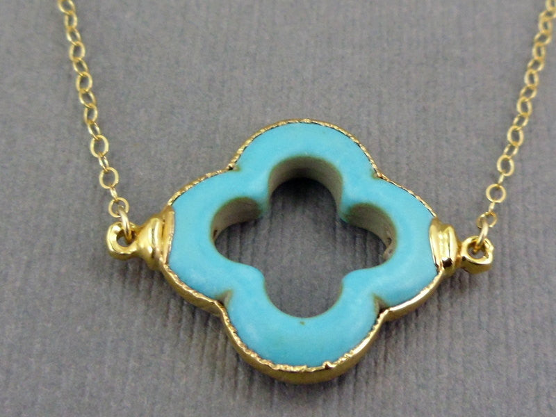 Turquoise Clover Station Pendant Charm 24k gold electroformed double bail (S1B17-15)