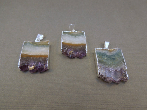 Amethyst Stalactite Slice with Electroplated Silver Pendant Necklace vertical version