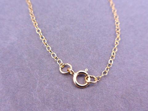 "Gold Chain- 18"" Diamond Cut 1.5mm Gold Fill FINISHED Ball Chain with Heart Charm"
