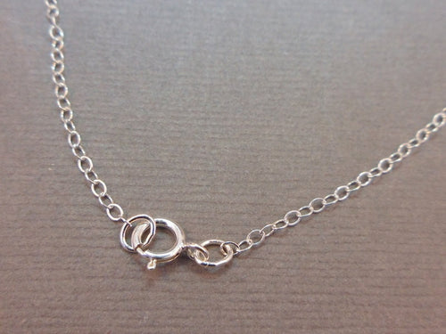 Chain Finished Necklace Sterling Silver .925 Cable Chain Spring Clasp 1.3mm 16""