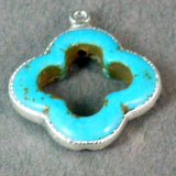 Turquoise Howlite Clover Pendant Silver Electroformed S1B17-03