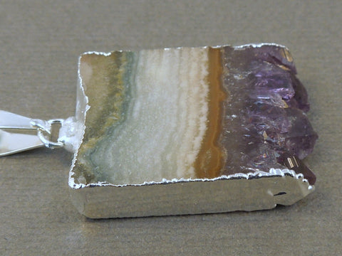 Dyed Blue/Purple Colored Druzy Double Bail Pendant -- Oxidized Silver Plated Bezel Bar - Bzldruz