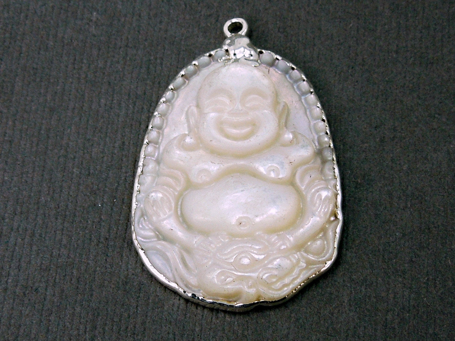 Buddha Mother of Pearl Carved Pendant edged in Silver(S1B5-08)