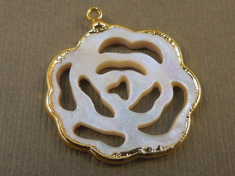 Mother of Pearl Blossom Flower Pendant edged in 24k Gold Exclusive Design