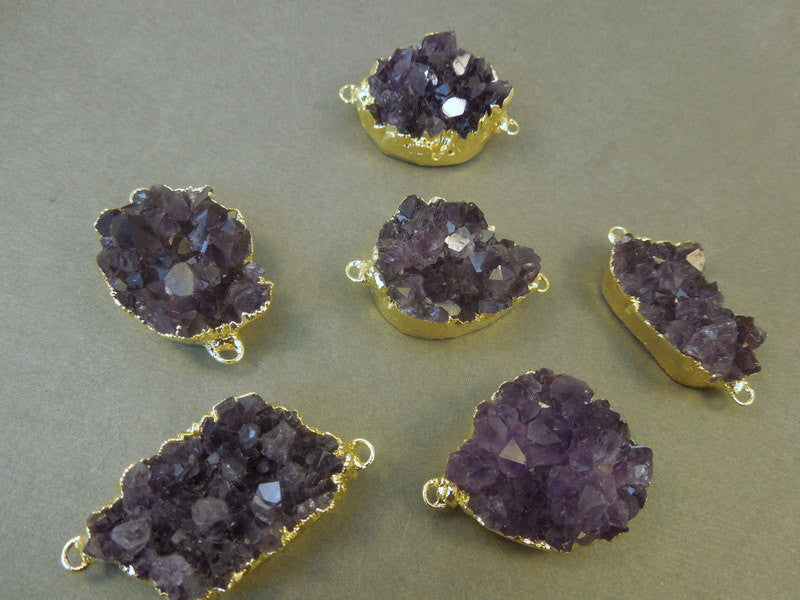 Amethyst Cluster Pendant with Double Bail 24k gold edging (S80B11)