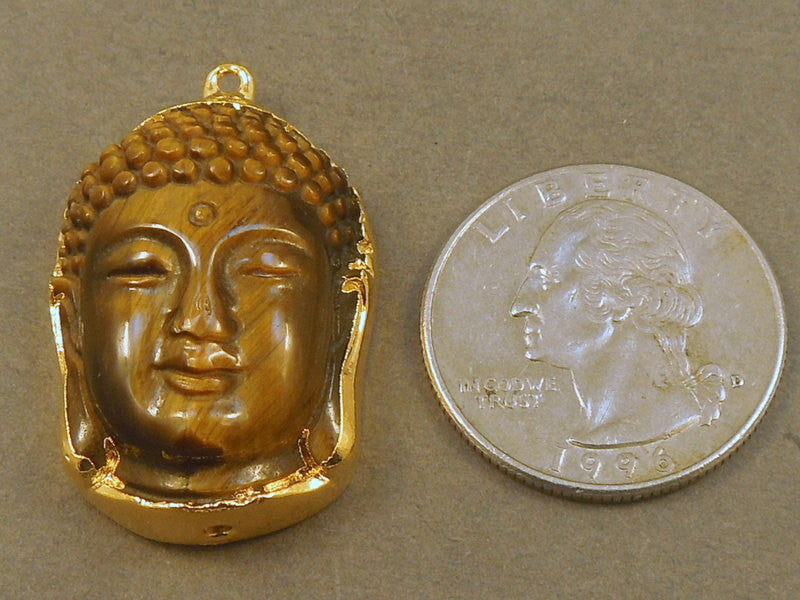 Buddha Tiger Eye Buddah edged in 24k gold Pendant Charm (S68b5-08)